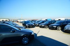 Market of second hand used cars in Vilnius city Stock Image
