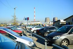Market of second hand used cars in Vilnius city Stock Photos