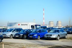 Market of second hand used cars in Vilnius city Stock Photo
