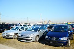 Market of second hand used cars in Vilnius city Stock Photography