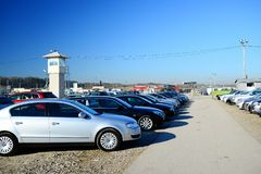 Market of second hand used cars in Vilnius city Royalty Free Stock Image