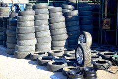 Market of second hand used tyres in Vilnius city. VILNIUS, LITHUANIA - MARCH 17: Market of second hand used tyres in Vilnius city on March 17, 2015, Vilnius Royalty Free Stock Photography