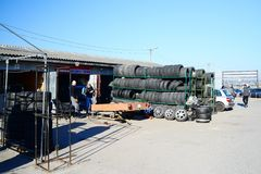 Market of second hand used tyres in Vilnius city Royalty Free Stock Photography