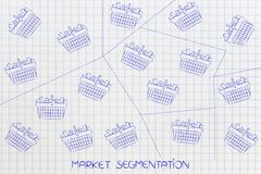 Full shopping baskets divided into different groups with dashed. Market segmentation concept: full shopping baskets divided into different groups with dashed Stock Photography