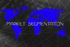 Market Segmentation text over world map and dashed lines overlay Royalty Free Stock Photography