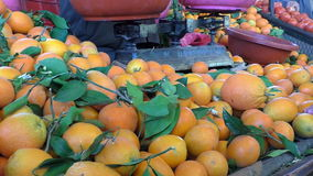 Market seller weighing oranges. Fruit seller weighing oranges using old style mechanical two-pan balance scales at the market stock footage