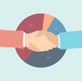 Market share agreement flat illustration. Flat design style modern vector illustration concept of two business people hand shaking, market share agreement Royalty Free Stock Photos