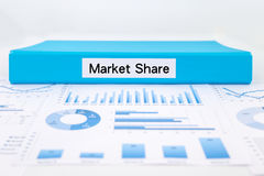 Market Share concept with graphs, charts and business report Stock Image