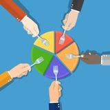 Market share. Hand picking pie chart Stock Photos