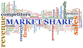 Market share tags. Illustration of wordcloud representing concept of market share Royalty Free Stock Photography