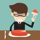 Market Share - Thief Businessman misapplied profits shareholder. The cartoon Business idea concept Royalty Free Stock Photo