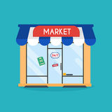 Market shop facade. Vector illustration of market building.  Royalty Free Stock Photos