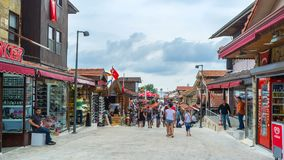 Market in Side. SIDE, TURKEY - MAY 8, 2017: The Liman street occupied with tourist stores and cafes, leads to the coast and harbor, many tourists walk here after