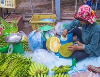 Market in Siem Reap Cambodia. SIEM REAP , CAMBODIA - OCT 18 : Cambodian woman selling Jackfruit in a market in Siem Reap Cambodia on October 18 2017. Agriculture Royalty Free Stock Images