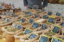 Market at small Italian village. Spices at the market at small Italian village Royalty Free Stock Photos