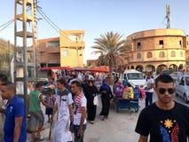 market& x28; souk& x29;义卖市场在旅游城市Ouargla阿尔及利亚 传统布料纪念品市场是 免版税图库摄影