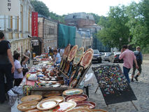 Market with souvenirs. In Kiev, Ukraine, St. Andrew's descent royalty free stock photos