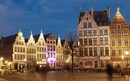 Market Square In Antwerp At Night Royalty Free Stock Photos