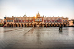 Market square with beautiful Cloth Hall in Krakow Royalty Free Stock Image