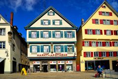 Market square in Biberach an der Ris Germany stock image