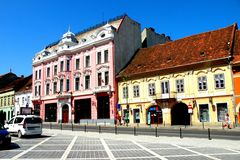 Market Square in Brasov (Kronstadt), Transilvania, Romania. Brașov is located in the central part of the country, about 166 kilometres (103 miles) north of Stock Images