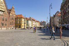 Market Square in the center of Wroclaw, Poland. Wroclaw, Poland - July 09, 2018: Market Square in the center of Wroclaw, Poland royalty free stock photo