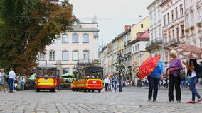 Market Square - is a central square of the city of Lviv in Western Ukraine stock video