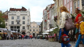 Market Square - is a central square of the city of Lviv in Western Ukraine stock footage