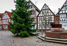 Market square with Christmas tree in a small half-timbered German village. Market square with Christmas tree in a small half-timbered hessian village, Germany stock photos
