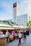 Market square with city hall tower in Stuttgart, Germany royalty free stock photos