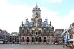 Market Square and Cityhall in Delft, Holland Royalty Free Stock Image