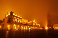 Market square in Cracow at night Stock Image
