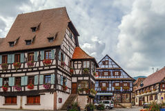 Market Square in Dambach-la-Ville, Alsace, France Royalty Free Stock Image