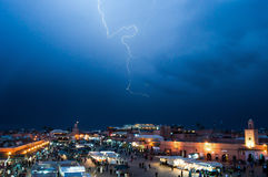 Market Square El-fnaa The jemaa, Marrakech. Thunderstorm on the market square The Jemaa El-Fna, Marrakech Royalty Free Stock Photography