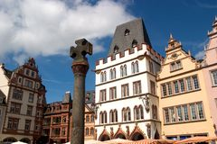 Market square facades. Renaissance facades facing the market square in the ancient German city of Trier Royalty Free Stock Image