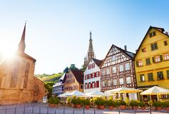 Market Square and Frauenkirche spire in Esslingen Stock Images