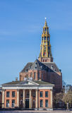 Market square with grain exchange and church in Groningen Stock Photography