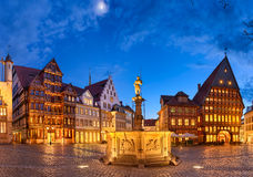 Market square of Hildesheim, Germany. Historic market square in the old city of Hildesheim, Germany by night Royalty Free Stock Images