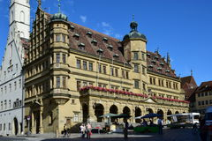 Market Square with the historic Renaissance Town hall, in Rothenburg, Germany Stock Photo