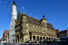 Market Square with the historic Renaissance Town hall, in Rothenburg, Germany Royalty Free Stock Images