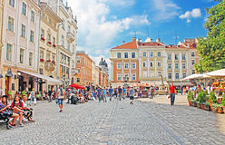 Market square - historical and tourist centre of the town in Lviv, Ukraine Royalty Free Stock Photo