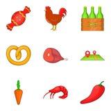 Market square icons set, cartoon style. Market square icons set. Cartoon set of 9 market square vector icons for web isolated on white background Stock Photo