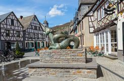 Market Square in Kobern-Gondorf on the Moselle.  stock photo