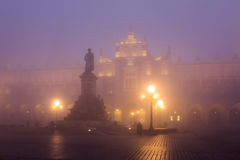 Market square in Krakow at morning fog Stock Photography