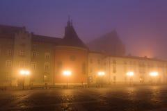 Market square in Krakow at morning fog Royalty Free Stock Image