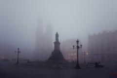 Market square in Krakow at morning fog Royalty Free Stock Photos