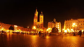 Market Square of Krakow at Night. Timelapse stock footage