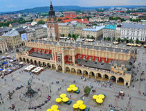 Market square in Krakow. KRAKOW, POLAND - JULY 21: Top view on the Market square in Krakow on July 21, 2012. Krakow is the second largest and one of the oldest Stock Photography
