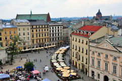 Market square of Krakow, Poland. KRAKOW, POLAND - JULY 21: View of the Main Square of Krakow historical centre on July 21, 2012. Krakow is one the most beautiful Stock Images
