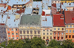 Market Square in Lviv city, Ukraine. View from Lviv Royalty Free Stock Image